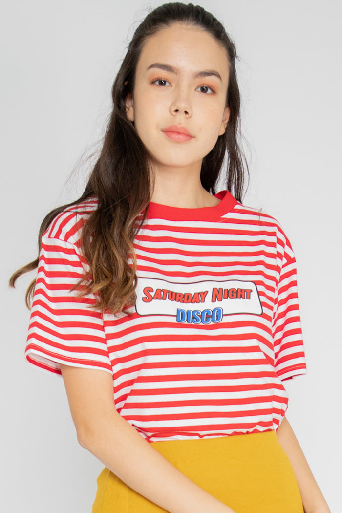 Saturday Night Disco Graphic Tee in Red - Three One Duo