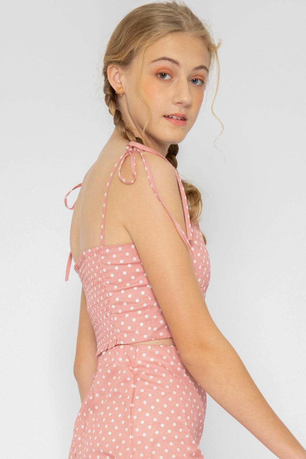 Nyla Polka Dot Tie Top in Pink - Three One Duo