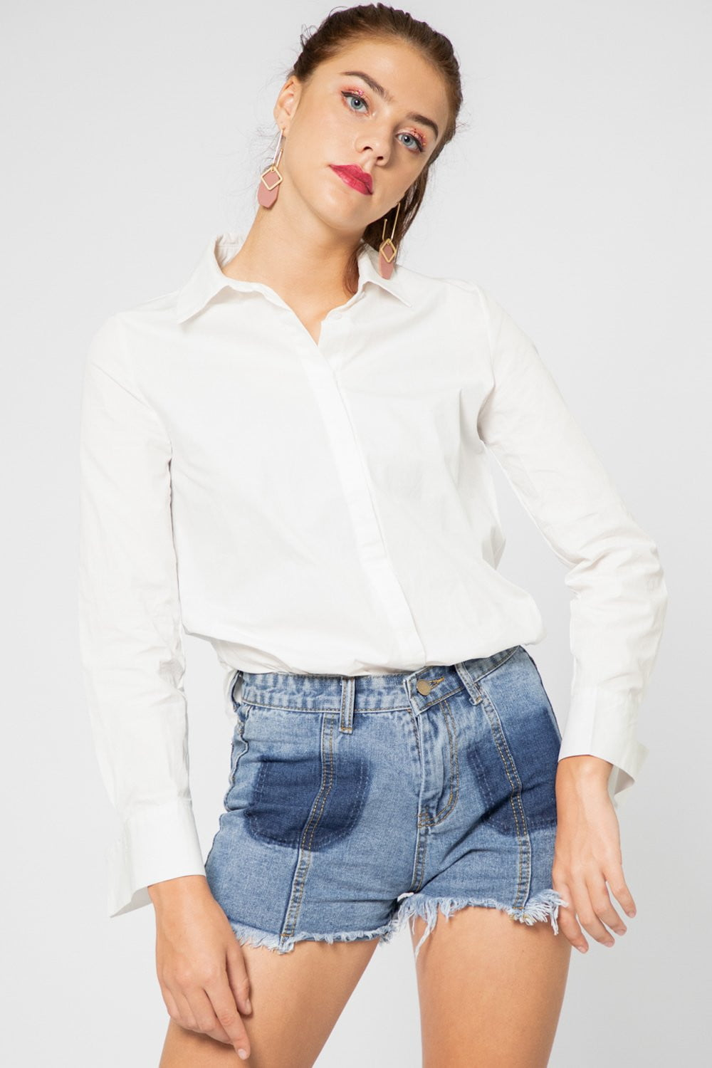 Emma Oversized Long Sleeve Shirt in White - Three One Duo