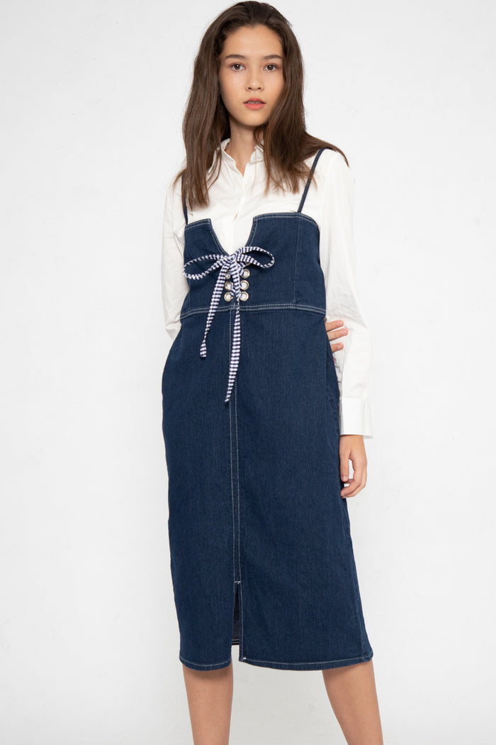 Josie Shoelace A-Line Dungaree in Dark Blue Denim - Three One Duo