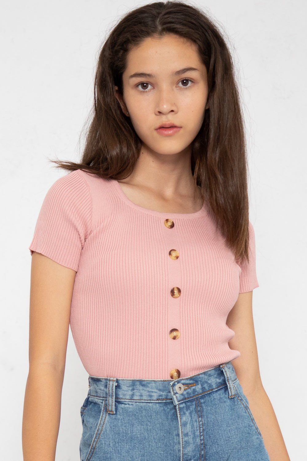 Noelle Ribbed Button Down Top in Pink - Three One Duo