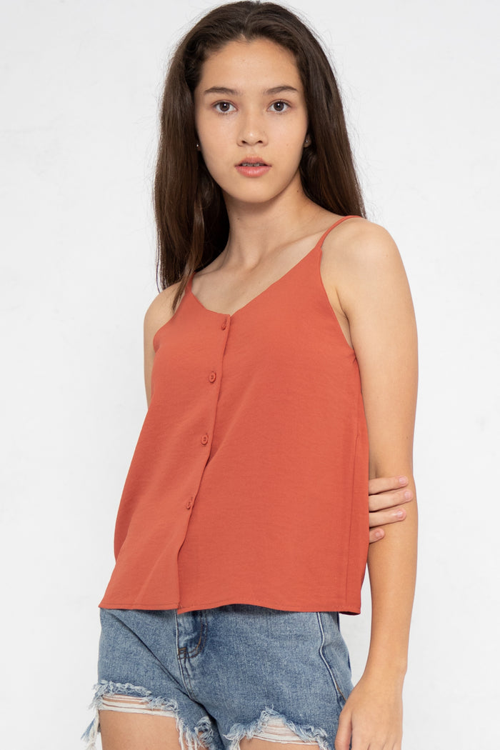 Nellie Button Down Cami Top in Dark Coral - Three One Duo