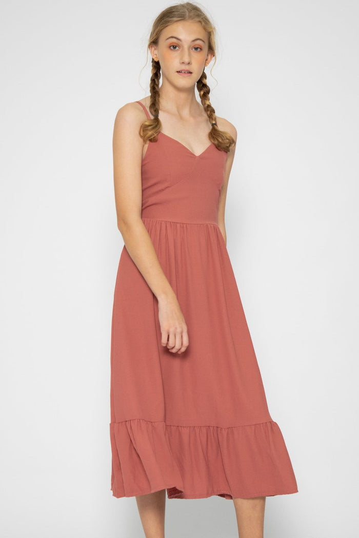 Amelia Ruffle Midi Dress - Three One Duo