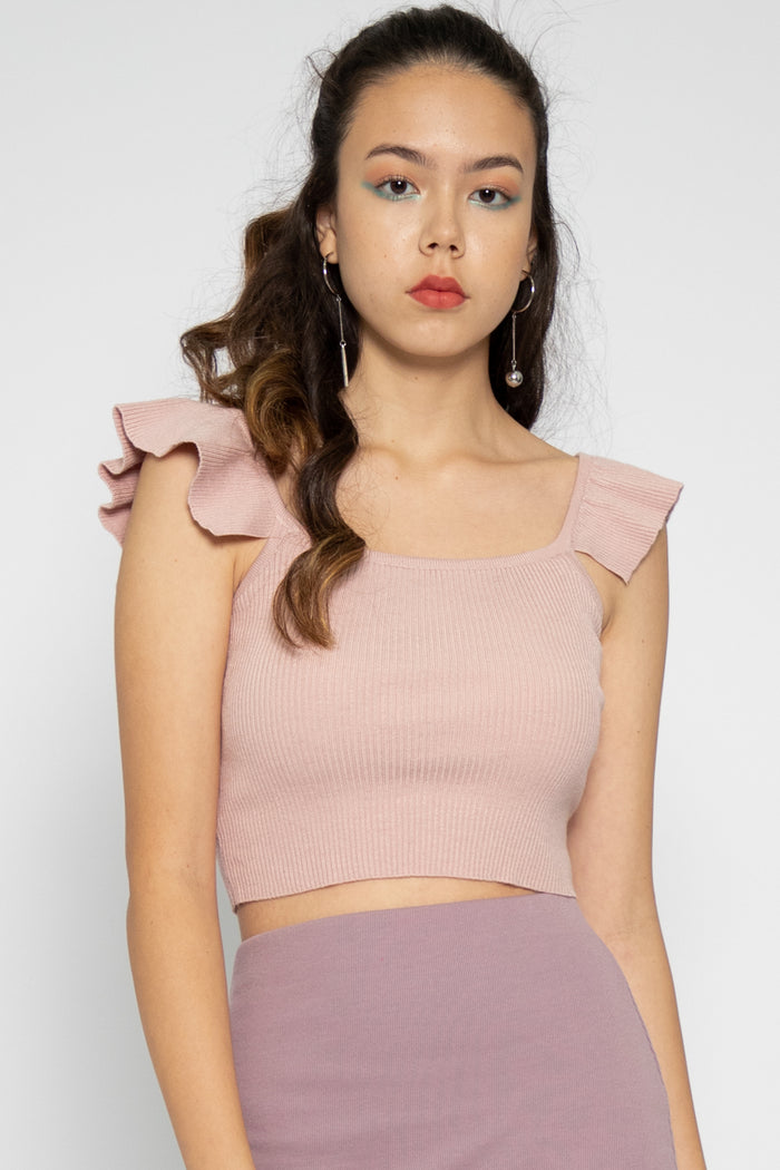 Natalie Ruffle Spag Top in Pink - Three One Duo