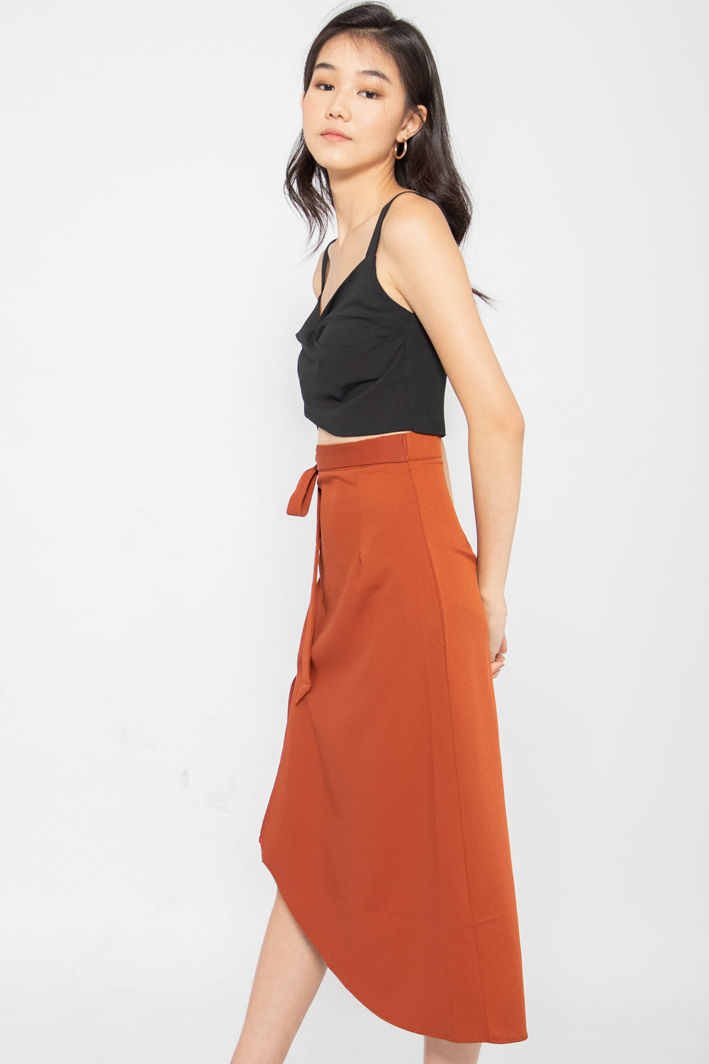 *Restocked* Dulce Side Slit Midi Skirt in Rust - Three One Duo