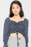 Zara Floral Ruched Bell-Sleeve Top - Three One Duo