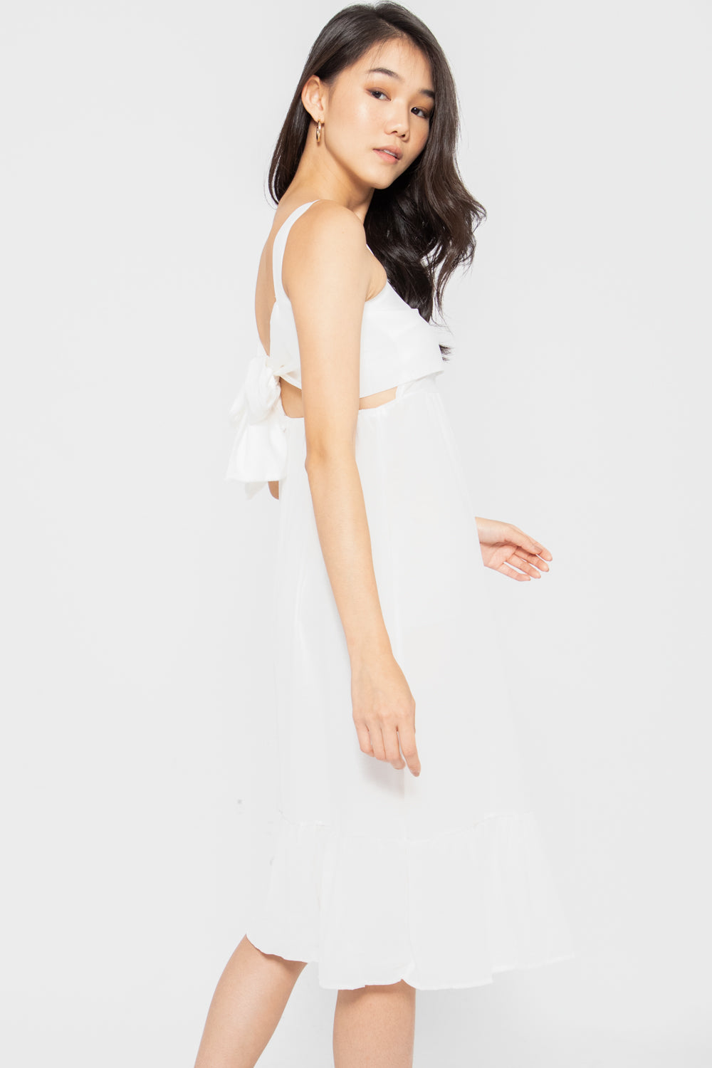 Kyleigh Tie Back Ruffle Dress in White - Three One Duo