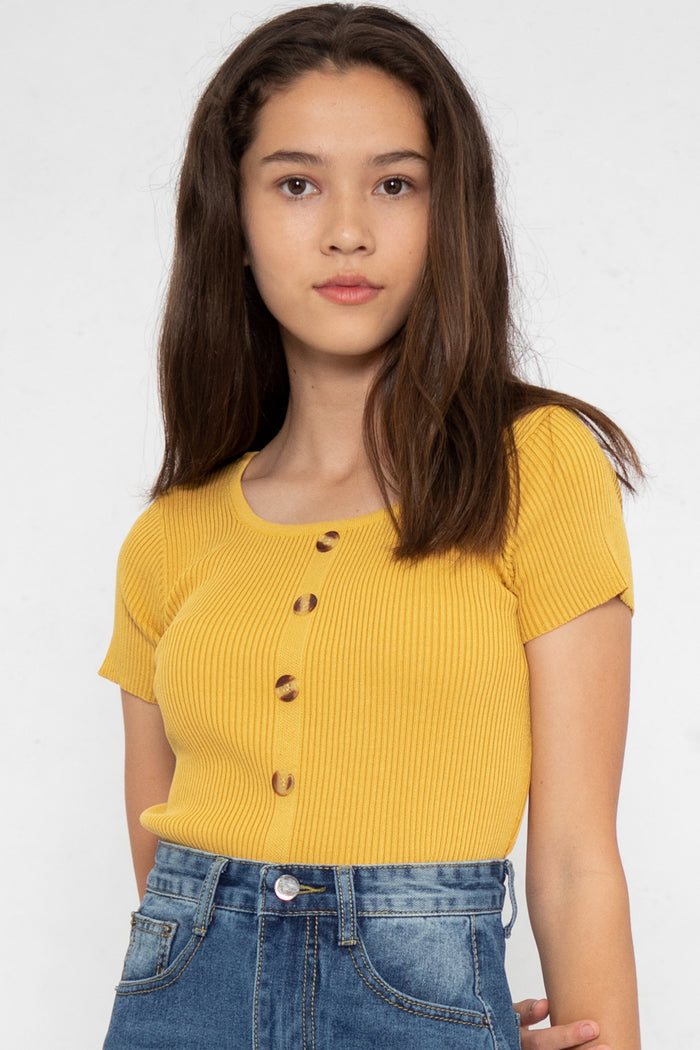 Noelle Ribbed Button Down Top in Yellow - Three One Duo