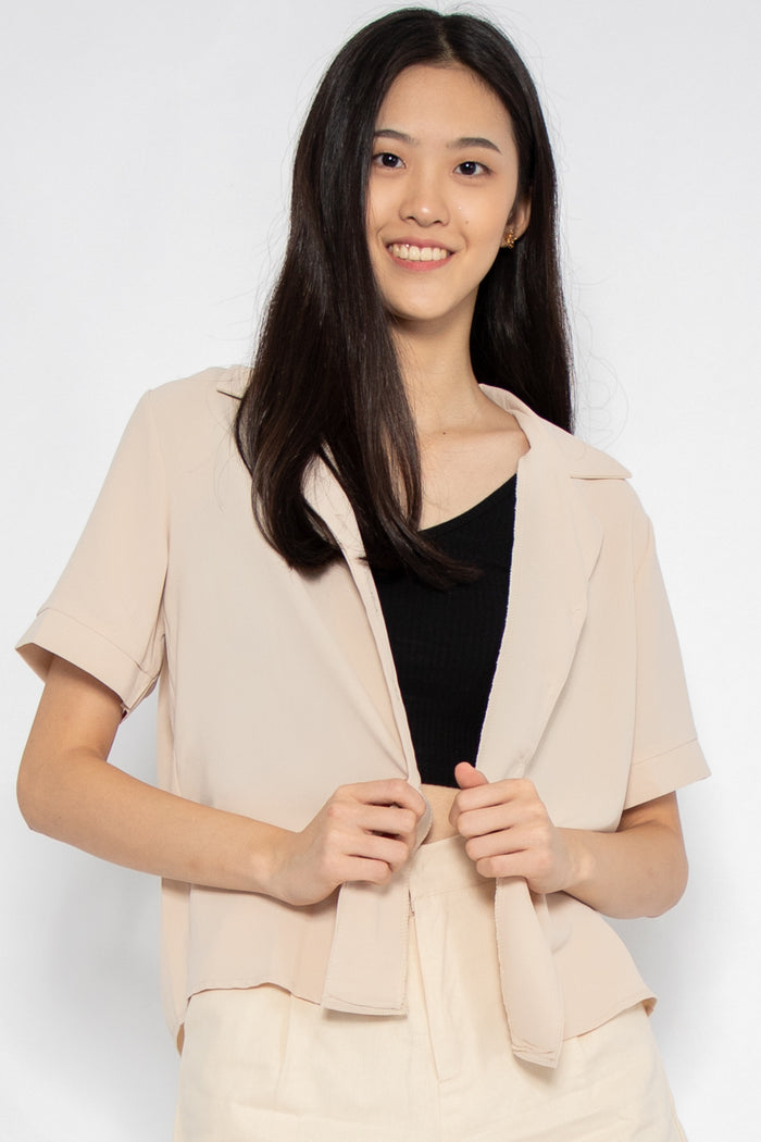 Rylee Short Sleeve Button Blouse in Almond - Three One Duo