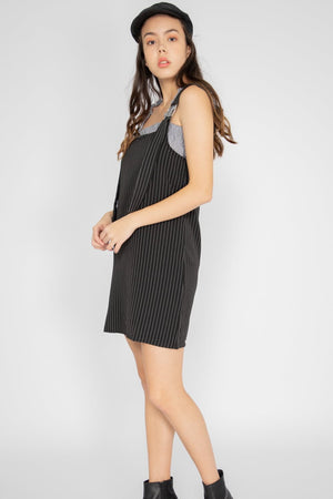 Gianna Pinstripe Dungaree in Black - Three One Duo