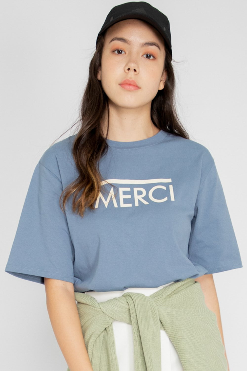 *Restocked* Merci Graphic Tee in Slate Blue - Three One Duo