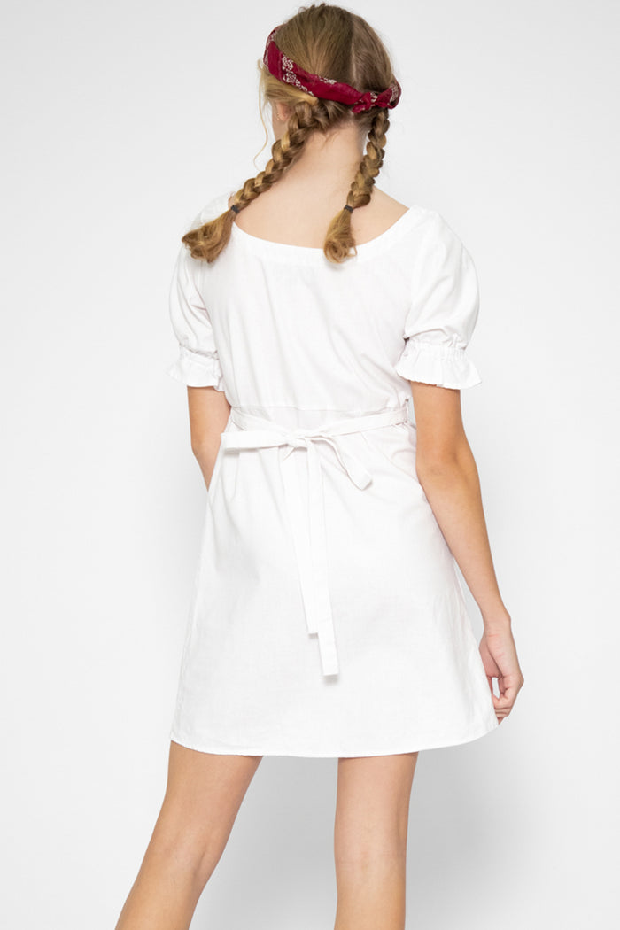 Zoelle Ruffle Sleeve Dress in White - Three One Duo