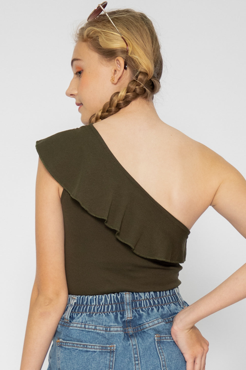 Mae Ruffle Toga Top in Olive - Three One Duo