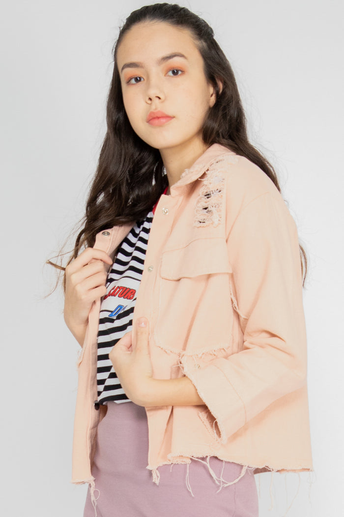Jesse Ripped Denim Jacket in Pink - Three One Duo