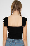 Natalie Ruffle Spag Top in Black - Three One Duo
