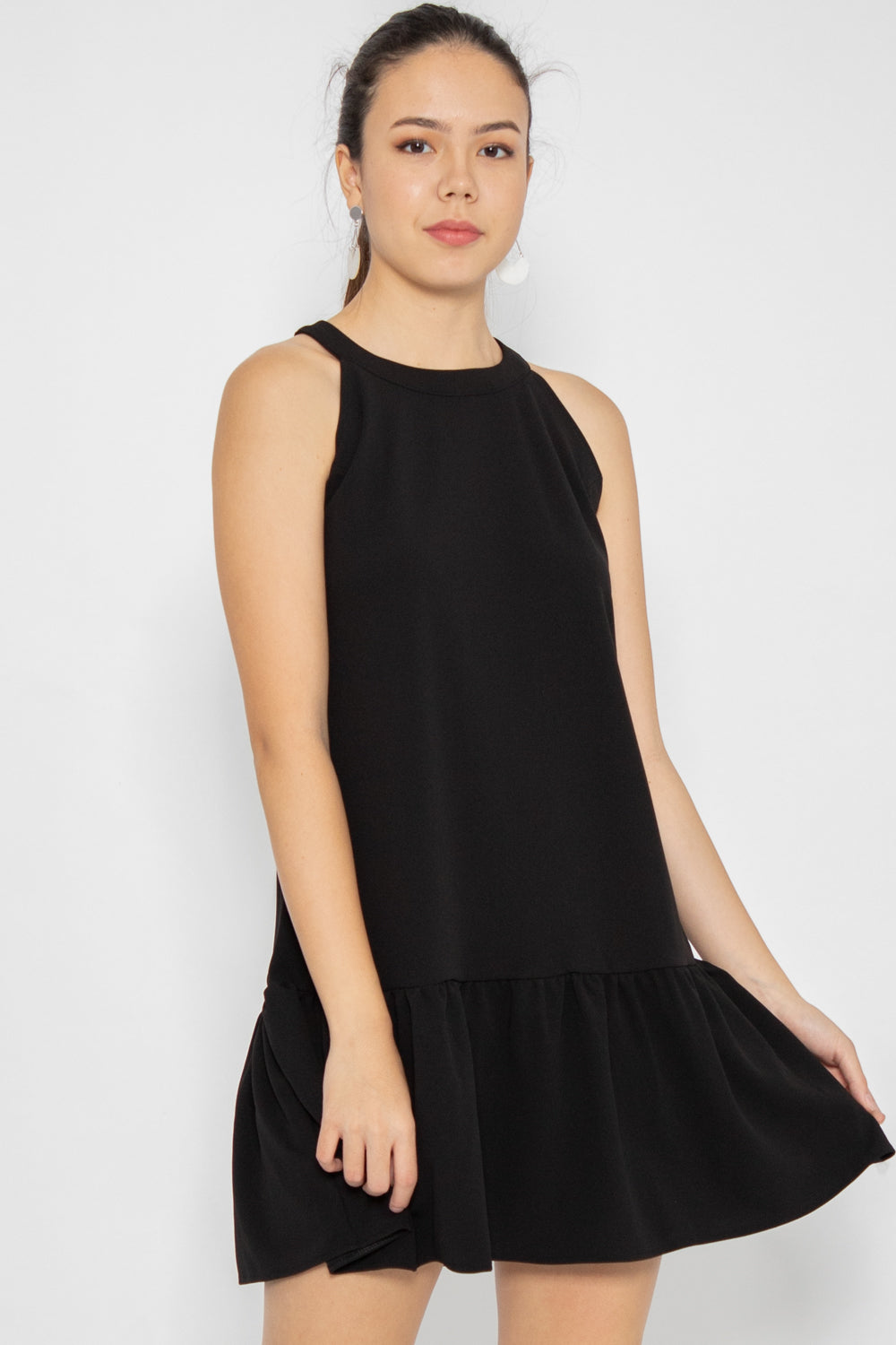 Willow Halter Neck Swing Dress in Black - Three One Duo