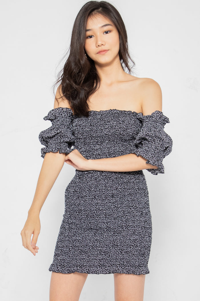 Avery Floral Smocked Off Shoulder Dress in Black - Three One Duo