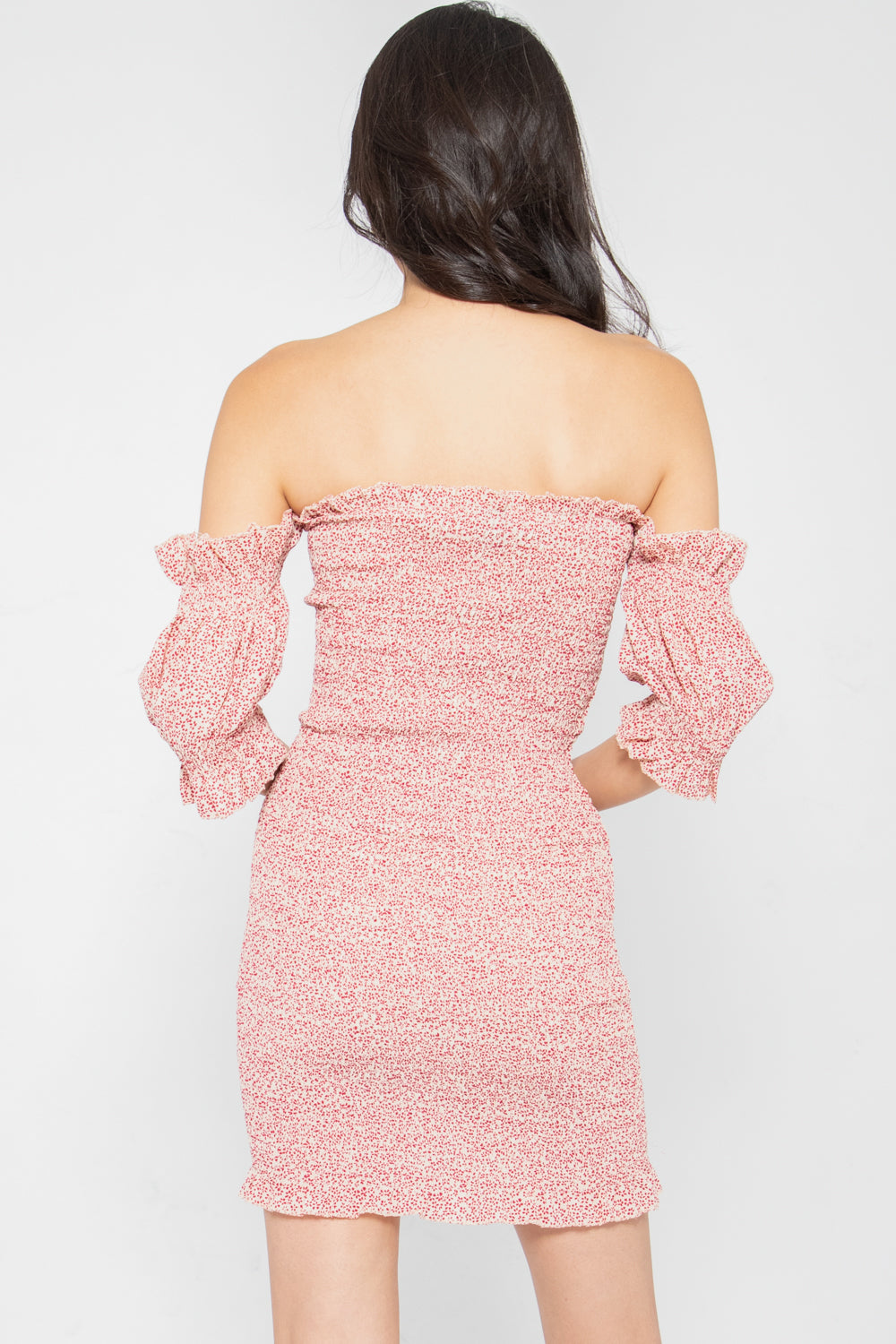 Avery Floral Smocked Off Shoulder Dress in Pink - Three One Duo