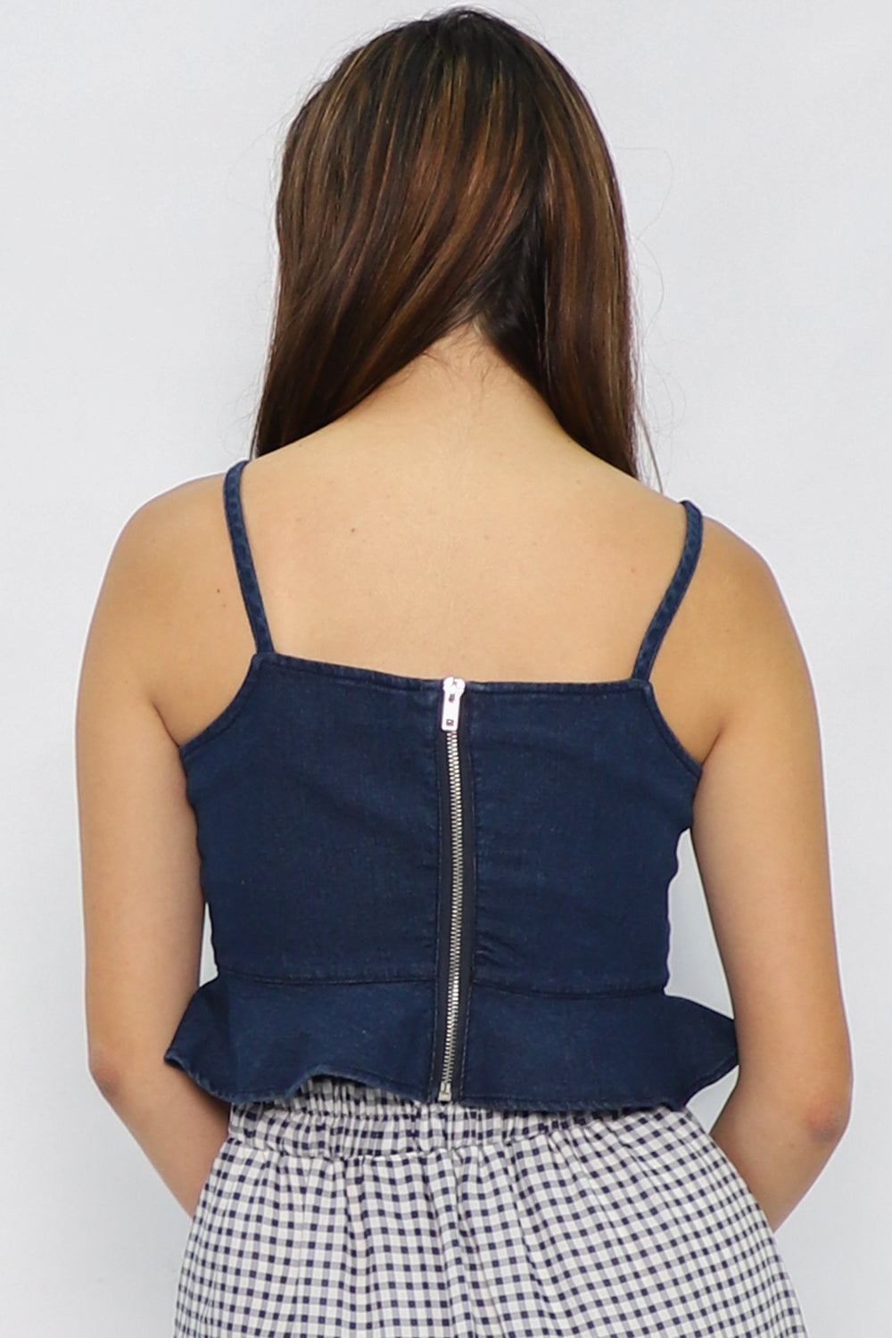 Lauren Peplum Crop Top in Dark Blue Denim - Three One Duo