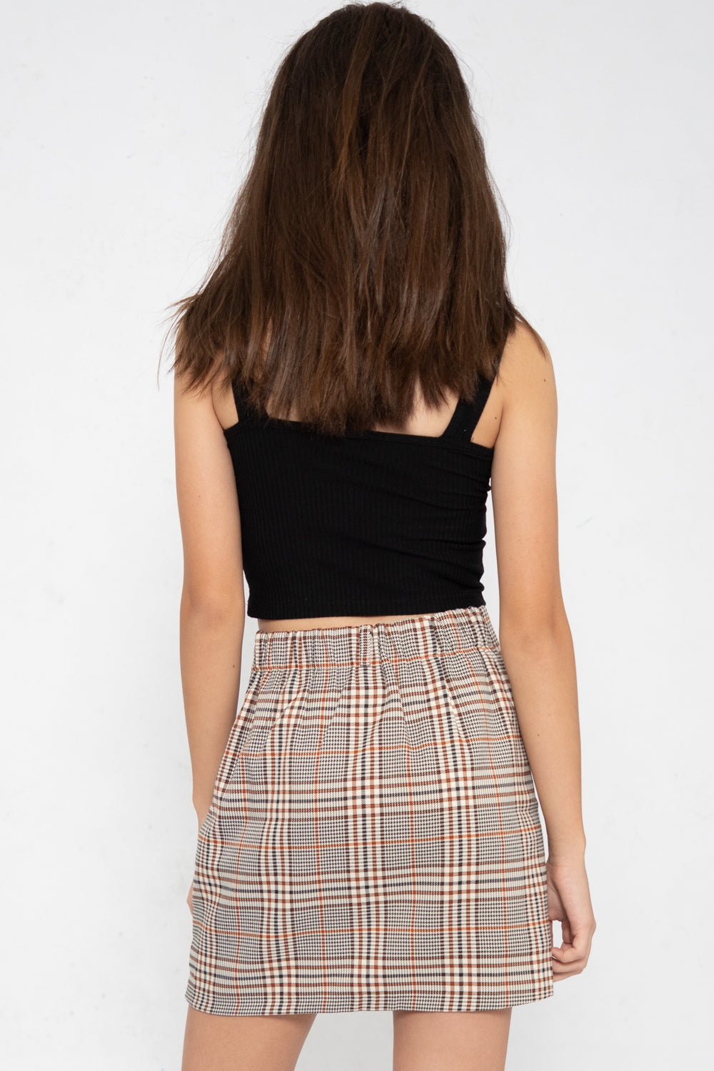 Peyton Checkered A-Line Wrap Skorts in Orange Plaids - Three One Duo