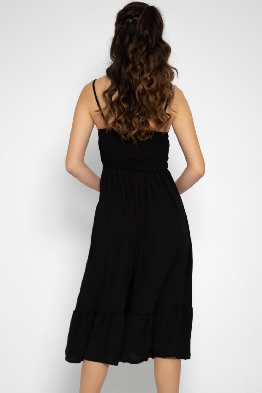 Amelia Ruffle Midi Dress in Black - Three One Duo