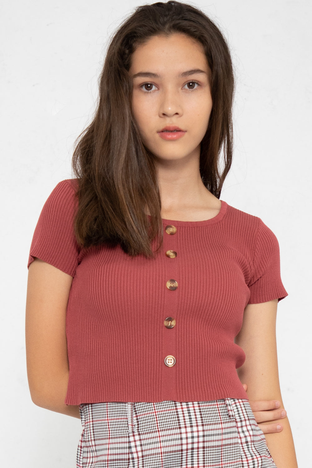 Noelle Ribbed Button Down Top in Rose - Three One Duo