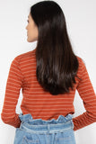 Hayley Striped Long Sleeve Top in Rust - Three One Duo