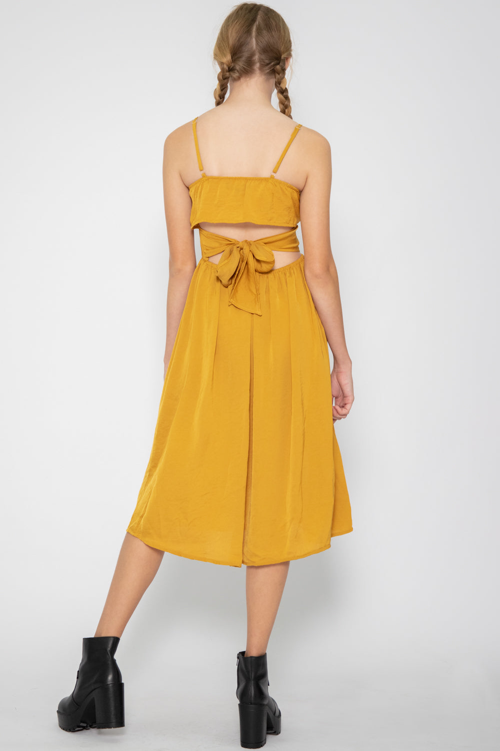 Luna Open Back Midi Dress in Mustard - Three One Duo