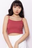 Kendall Basic Ribbed Spaghetti Strap Top in Rose - Three One Duo