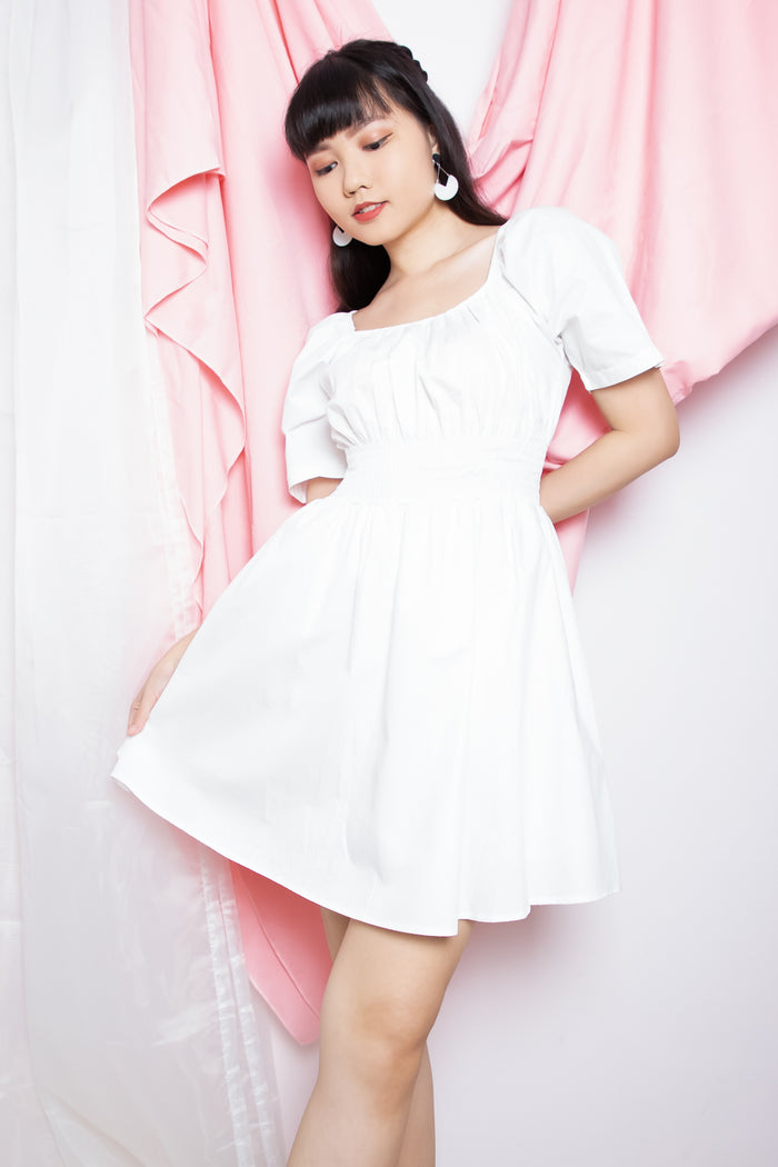Jessica Cinched Waist Dress in White