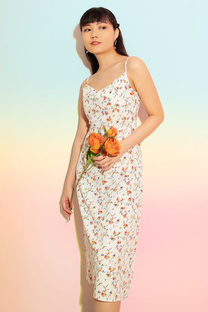Sarah Cowl Neck Floral Dress in White