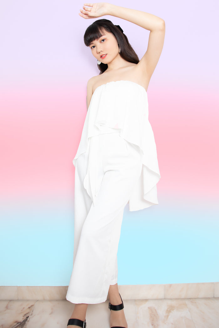 Veronica Ruffle Tube Jumpsuit in White