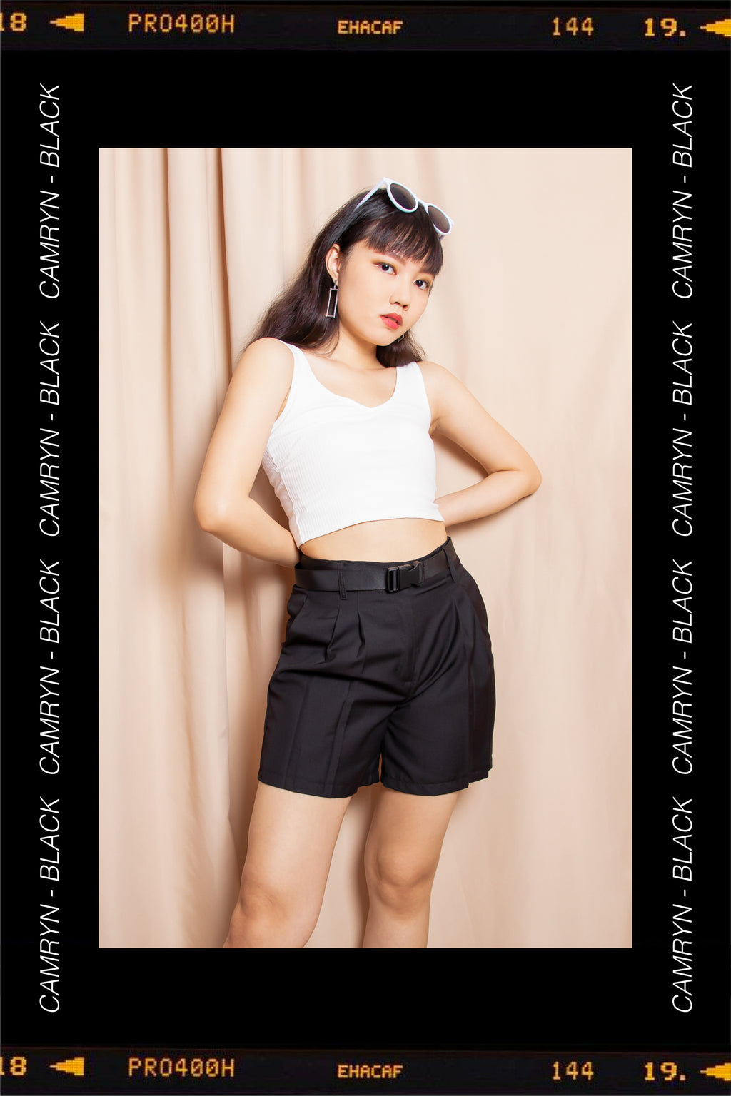 Camryn Flare Utility Shorts in Black