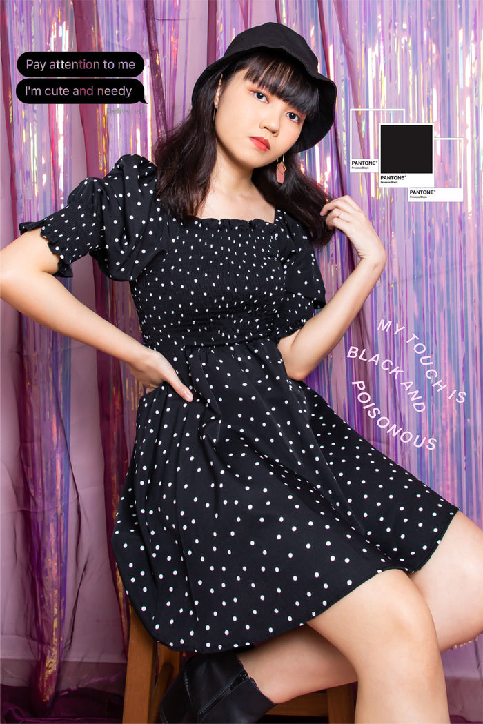 Daleyza Polka Dot Puffed Sleeve Dress in Black