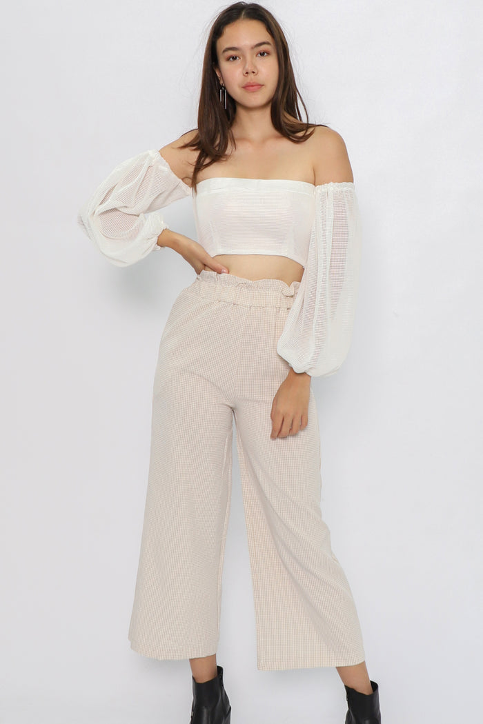 Mila Gingham Flare Culottes in Almond - Three One Duo