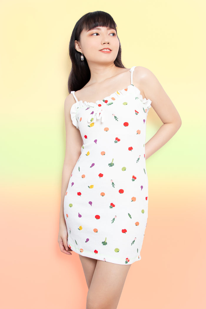 Olive Fruit and Veggie Dress in White