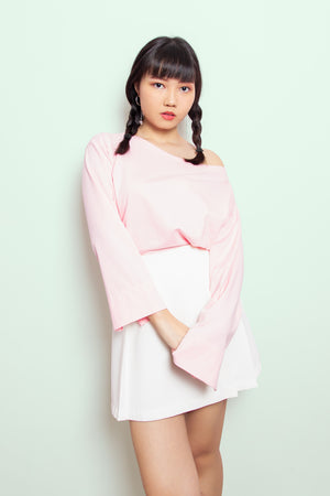 Destiny Wide Shoulder Long Sleeve Top in Pink