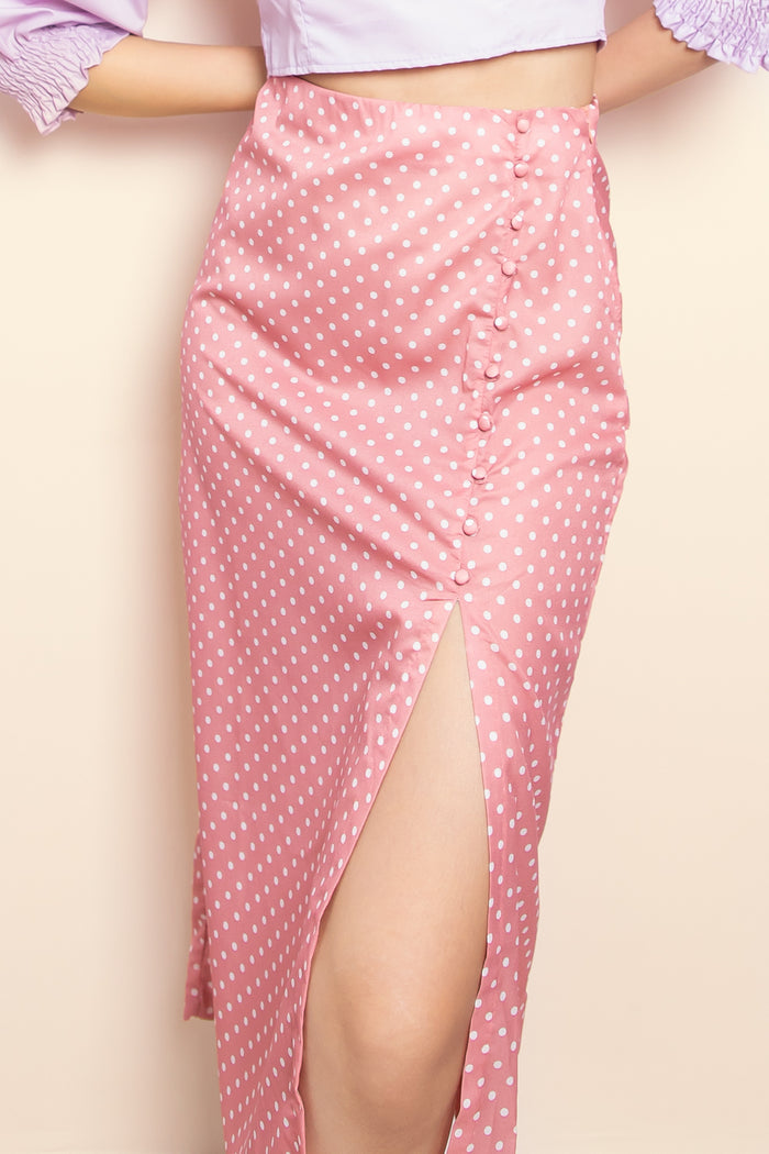 Talia Polka Dot Midi Skirt in Pink - Three One Duo