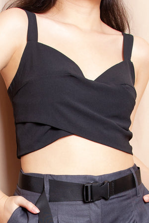 Arya Crossover Wrap Top in Black - Three One Duo