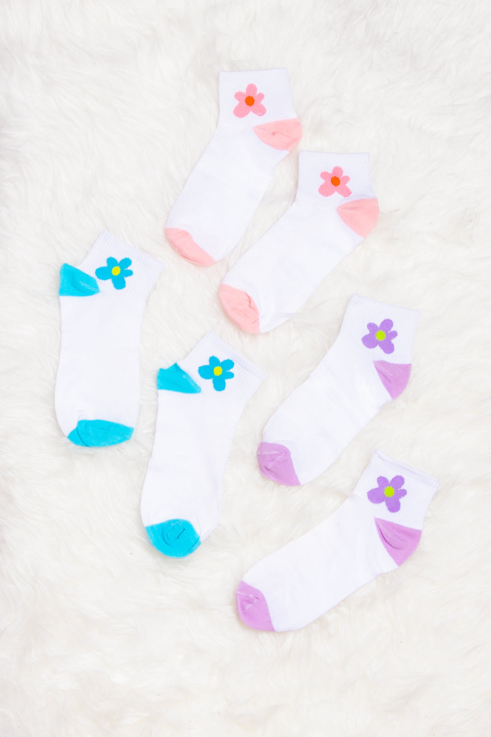 Sage Flower Print Socks in Pink