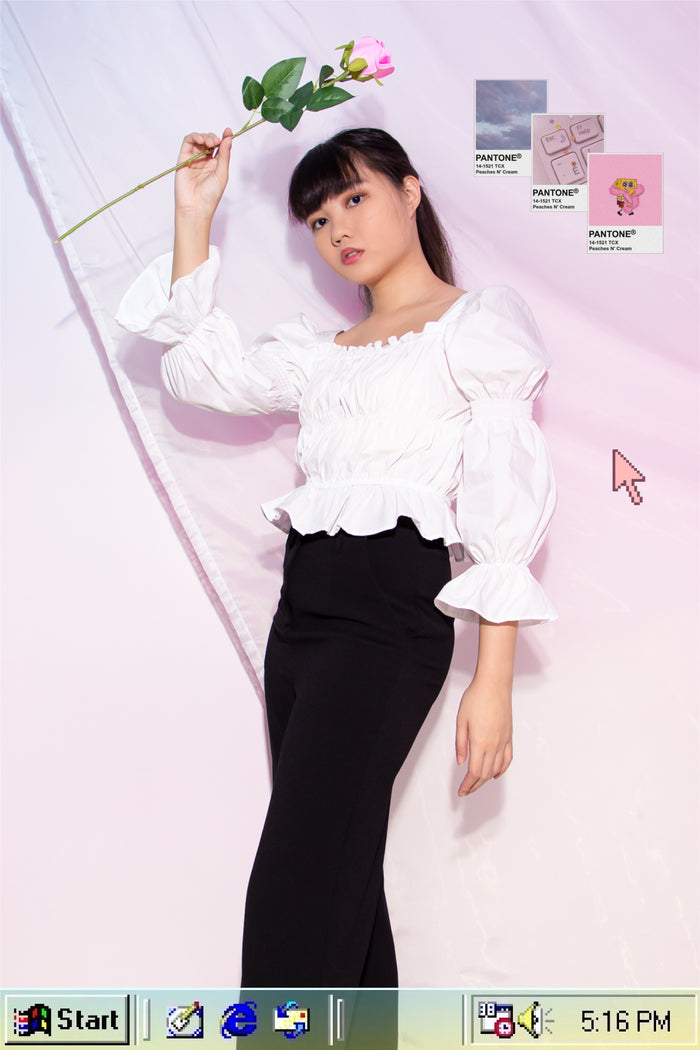 Courtney Puffed Sleeve Top in White - Three One Duo