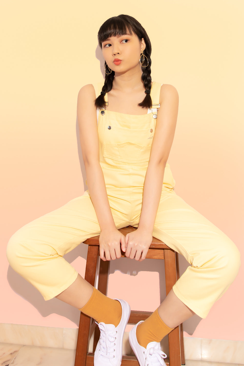 Winnie Oversized Denim Overalls in Yellow