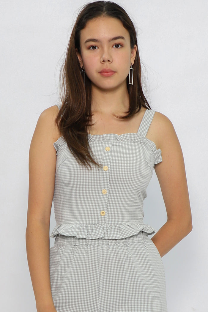 Ella Gingham Button Top - Three One Duo