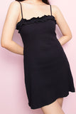 Genevieve Ruffle Spag Dress in Black