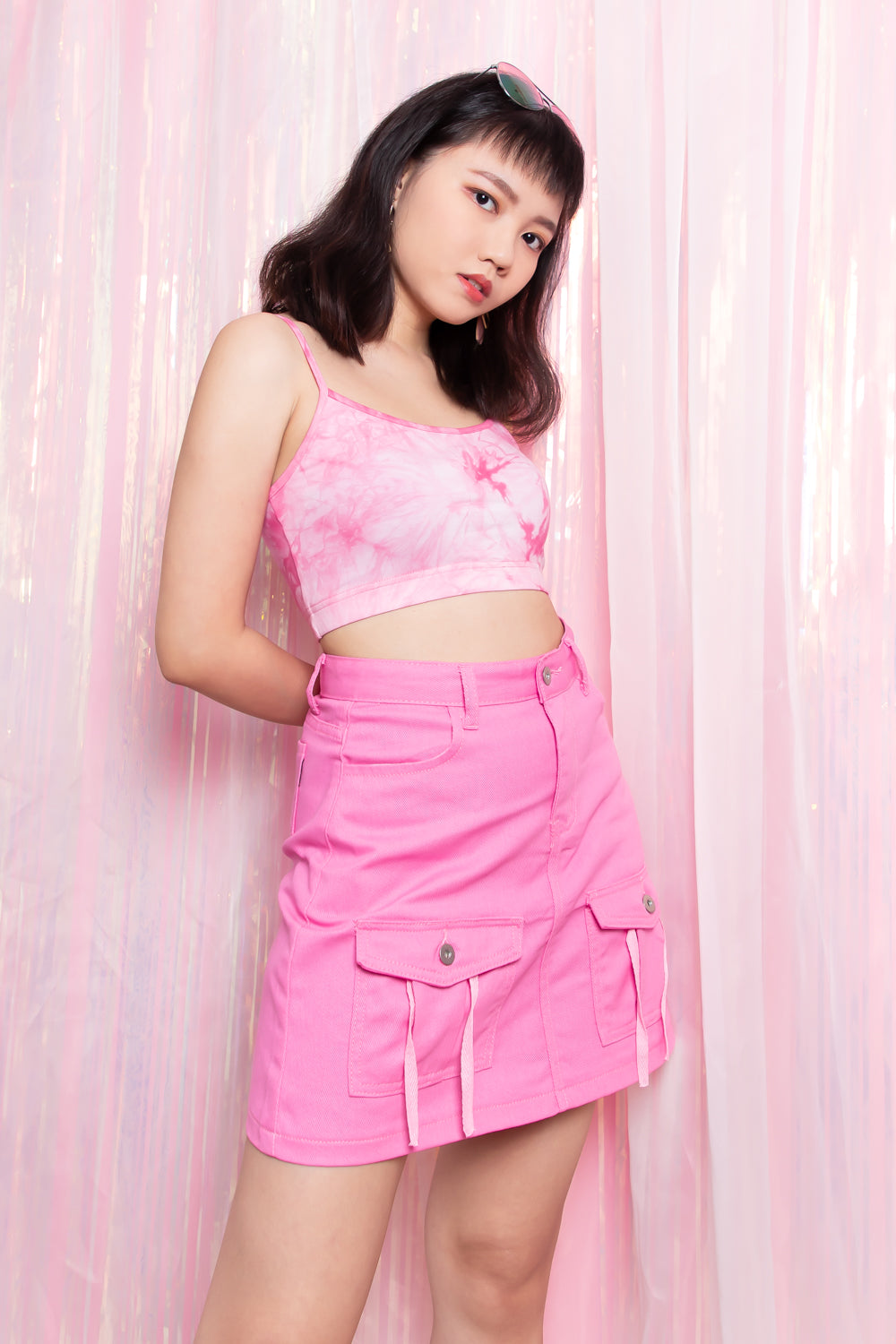 Aliyah Tie-Dye Cropped Top in Pink - Three One Duo