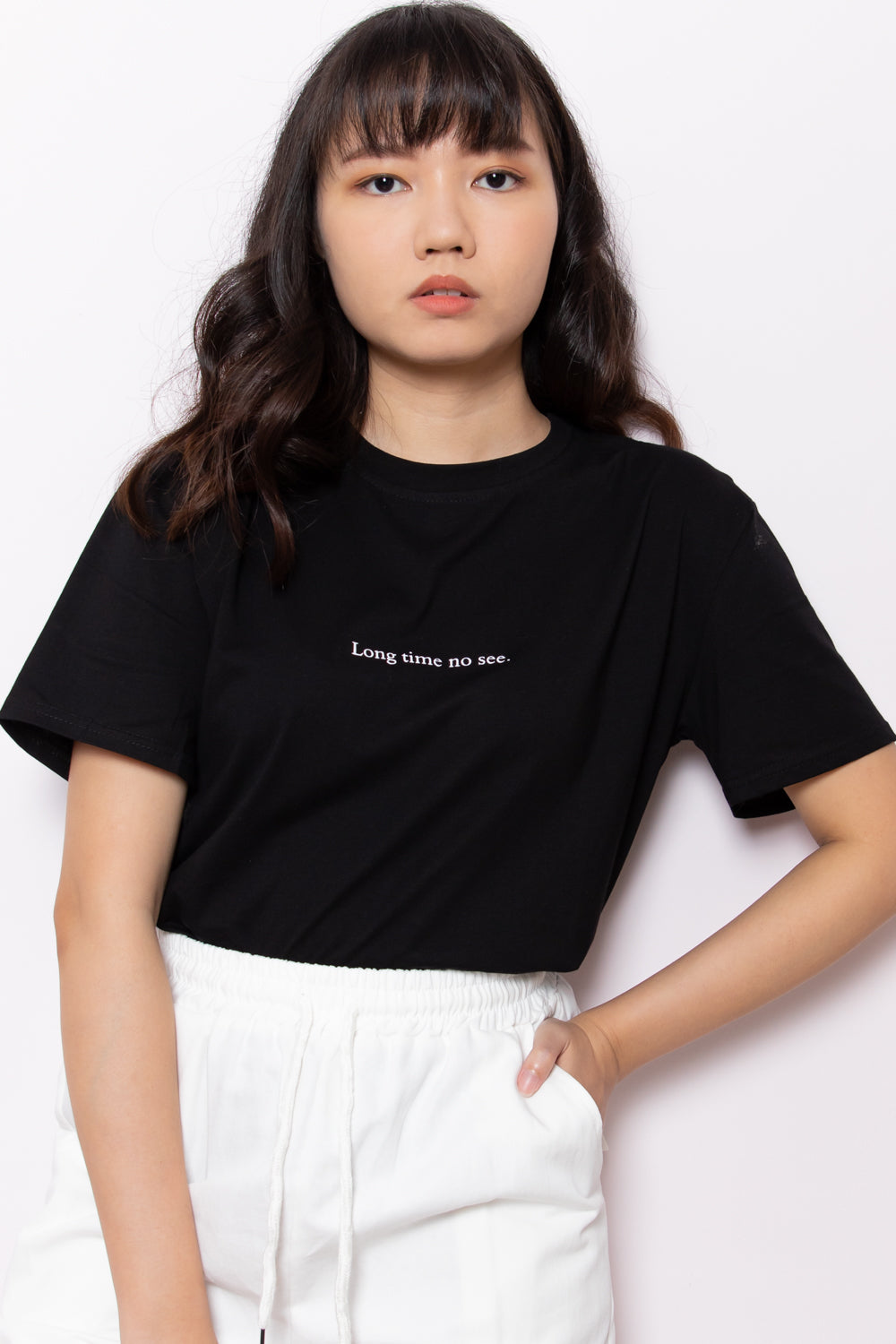 *Restocked* Long Time No See Graphic Slogan Tee in Black - Three One Duo