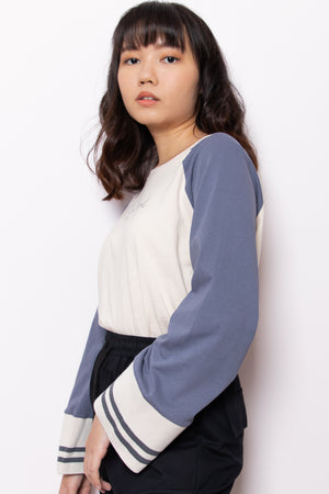 One Of A Kind Contrast Sleeve Top in Blue Grey - Three One Duo