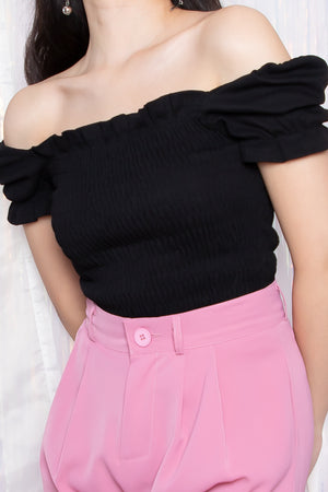 Shelby Puffed Sleeve Top in Black