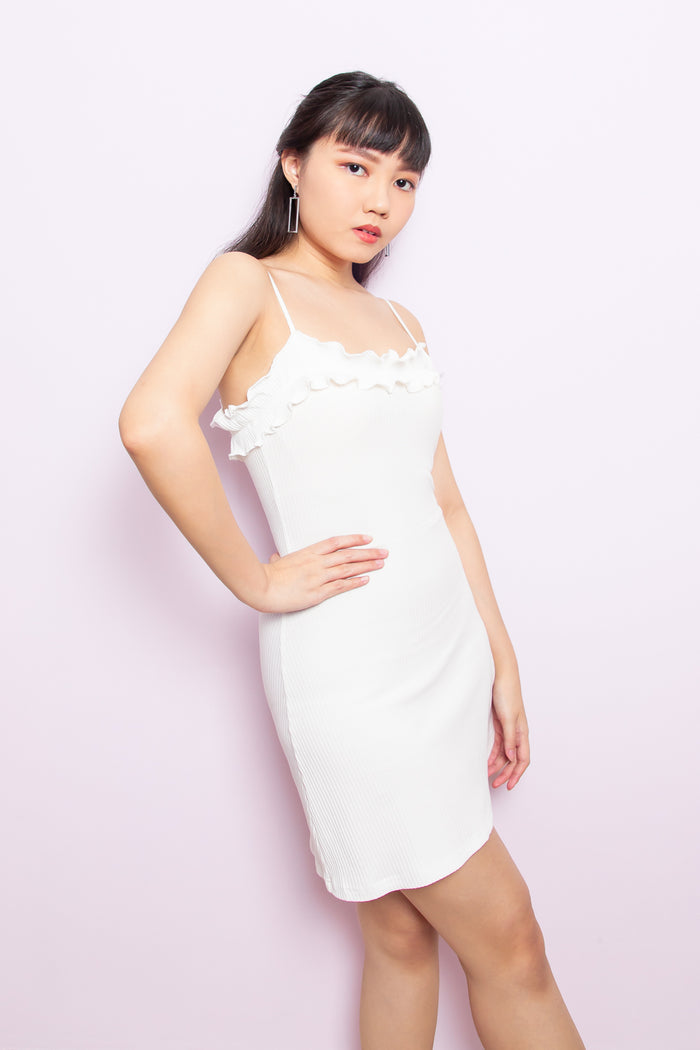 Genevieve Ruffle Spag Dress in White