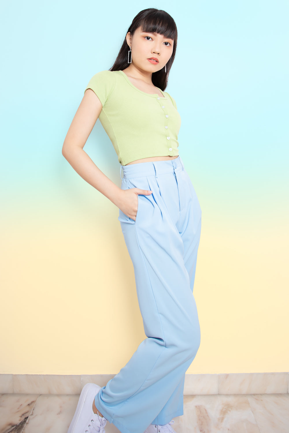 Jonelle Flare Long Pants in Sky Blue